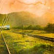 Vintage and grunge image of a railway. — Stock Photo