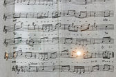 Music notes on a white fabric. — Стоковое фото