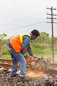 Workers were cutting tracks for maintenance. — Stock Photo