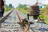 Welding tracks,thermit rail welding. — Stock Photo