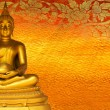 Buddha gold statue on golden background patterns Thailand. — Stock Photo