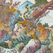 Chinese tiger painting on Chinese temple — Stock Photo