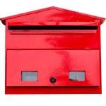 Red mailbox on white. — Stock Photo