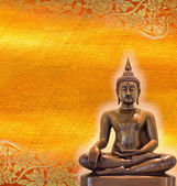 Buddha statue on golden background patterns Thailand.  — Stock Photo