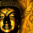 Buddha gold statue on golden background patterns Thailand. — Stock Photo #48680511
