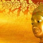 Buddha gold statue on golden background patterns Thailand. — Stock Photo #48680827