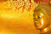 Buddha gold statue on golden background patterns Thailand.  — Foto de Stock