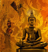 Buddha statue on grunge background. — Foto de Stock