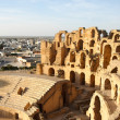 Stock Photo: Amphitheatre with El Djem city skyline in Tunisia