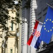 Building with EU and Croatian flag — Stock Photo