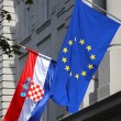 EU & Croatian flags in Zagreb — Stock Photo