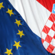 Close up of EU and Croatian flags  — Stock Photo