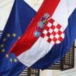 EU and Croatian flags together — Stock Photo