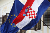 EU and Croatian flags together — Stock Photo