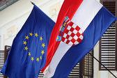 EU and Croatian flags — Stock Photo