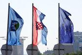 Zagreb, Croatian & Eu flags — Stock Photo