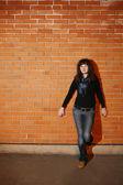 Woman portrait on the wall — Foto Stock