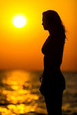 Young woman silhouette at sunset — Stock fotografie