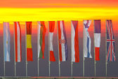 Group of flags in a row — Stock Photo