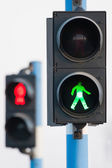 Two traffic lights for pedestrians  — Stock Photo
