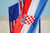 American and Croatian national flags waving — Stock Photo