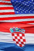 American and Croatian national flags  — Stock Photo