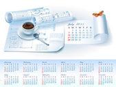 Calendar for 2013 with architectural design elements — Stockvektor