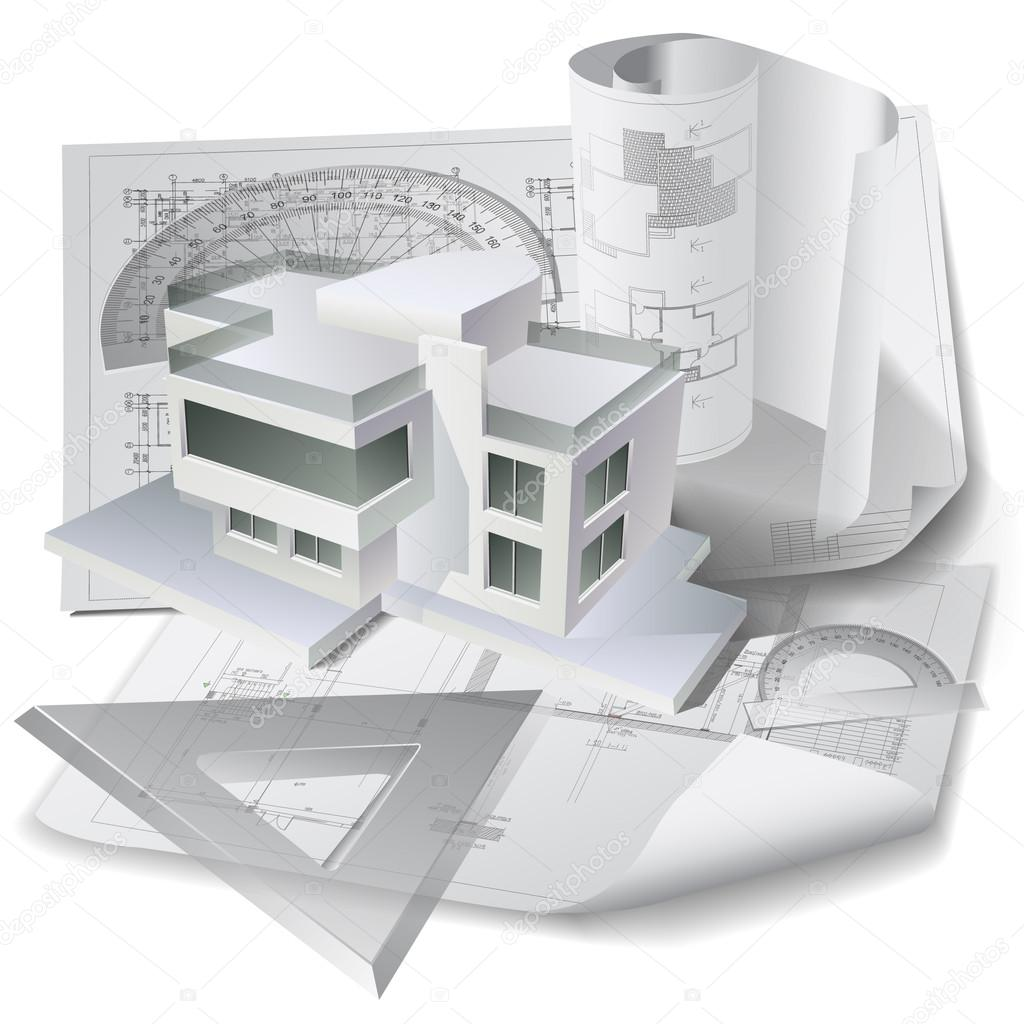 D cor architectural avec un mod le de construction en 3d for Dessin plan architecture