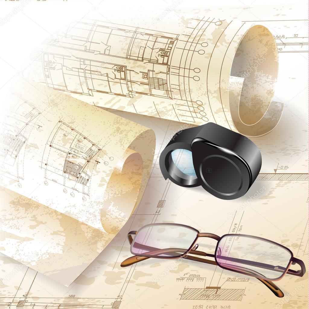 Sfondo architettonico grunge con disegno accesssori e for Disegno del piano di architettura