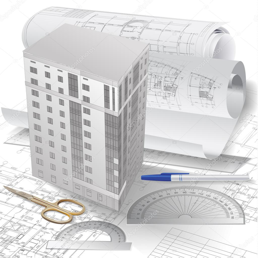 architectural background with a 3d building model stock vector