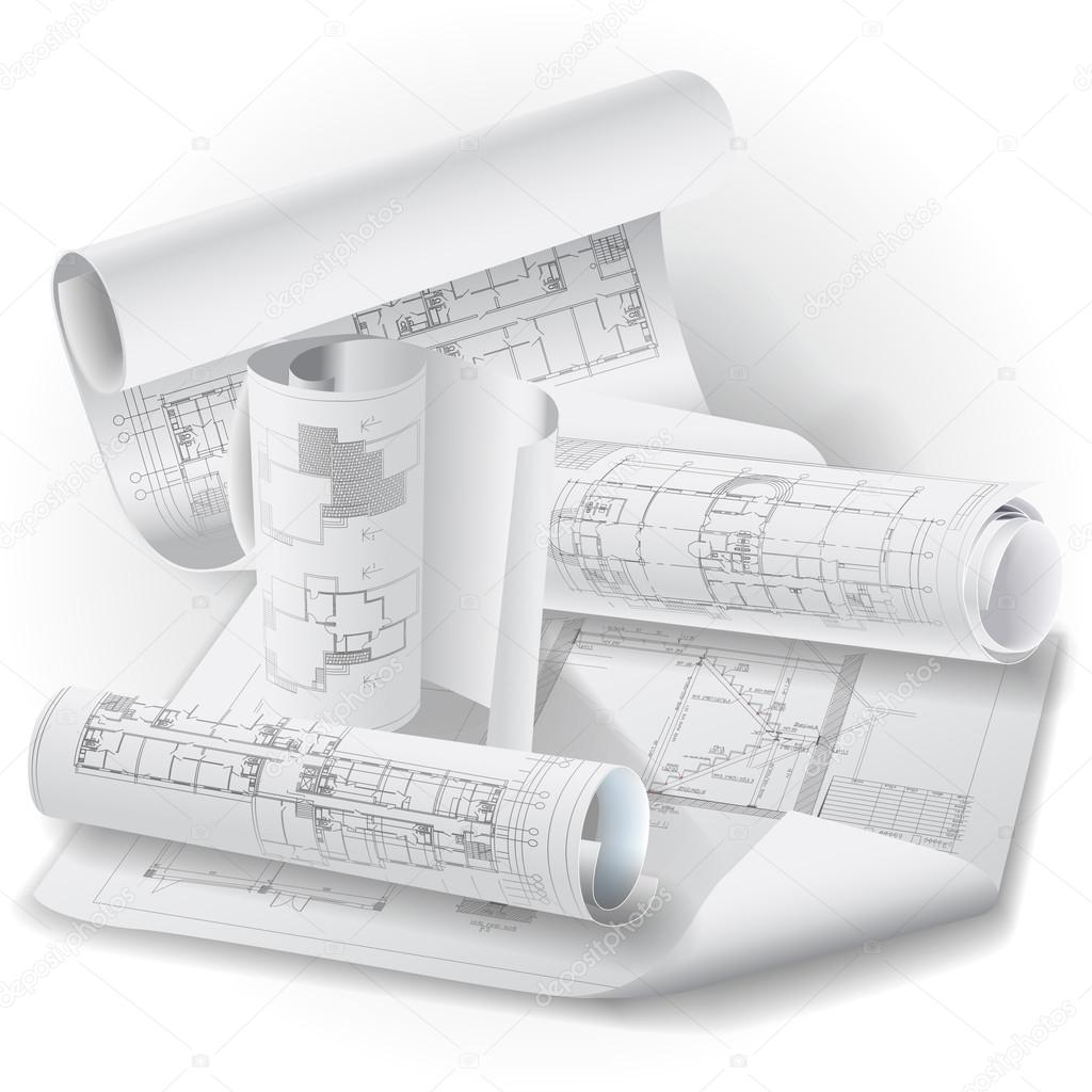Architectural Background With Rolls Of Drawings Stock