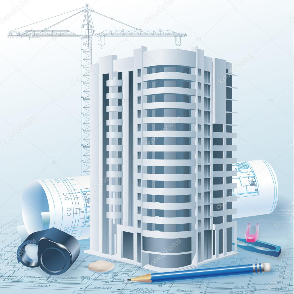 Architectural Background With Technical Drawings And 3d
