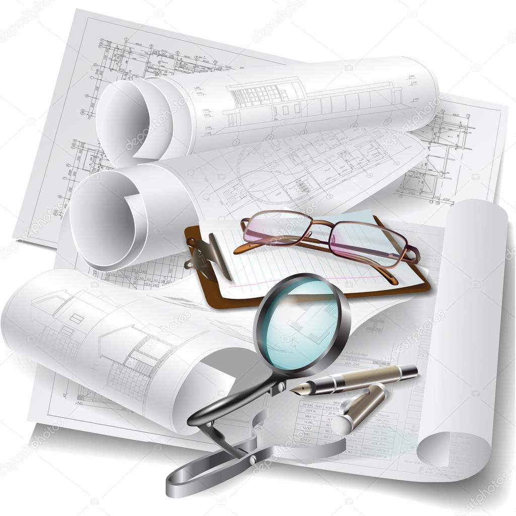 Sfondo architettonico con rotoli di disegni per il vostro for Software di piano architettonico