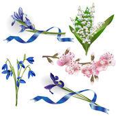 набор весенние цветы для целей проектирования — Cтоковый вектор