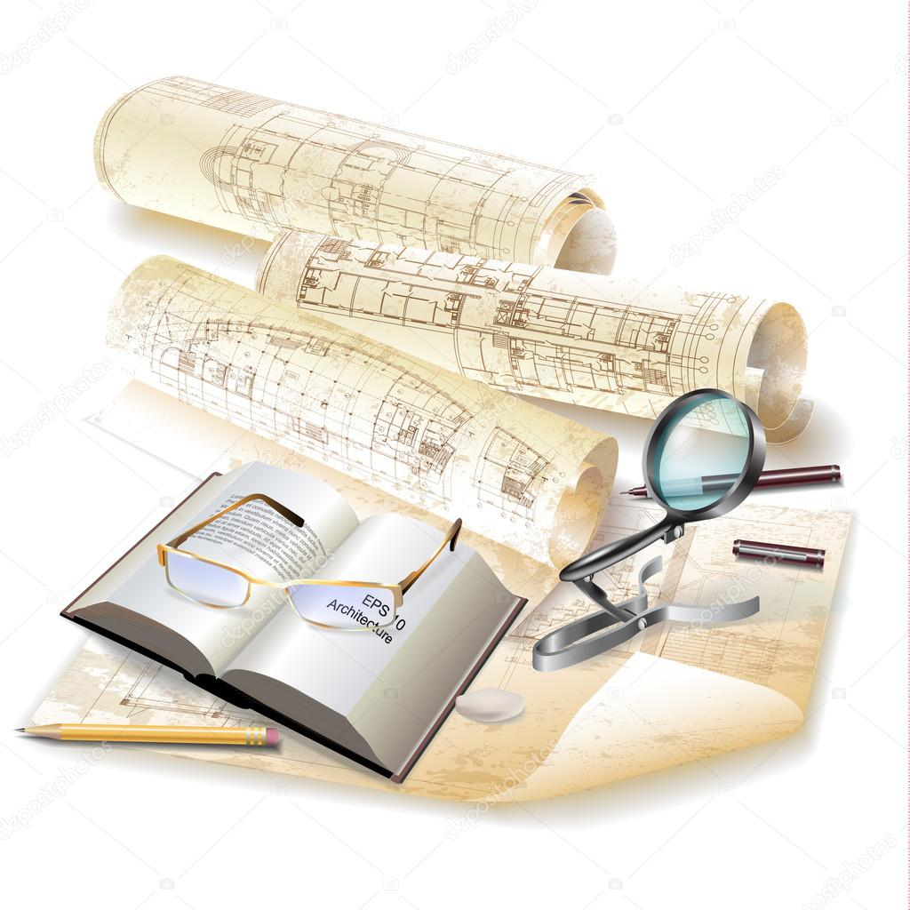Sfondo architettonico grunge con disegni tecnici for Software di piano architettonico