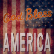 Stock Vector: Vintage poster with grunge effects - God Bless America