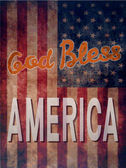 Vintage poster with grunge effects - God Bless America — Stock Vector
