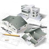 Arkitektoniska bakgrund med en 3d bygga modell — Stockvektor