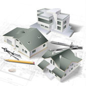 Fondo arquitectónico con un modelo del edificio 3d — Vector de stock
