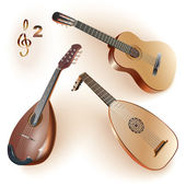Set of musical instruments of the string family: guitar, lute & mandolin — 图库矢量图片