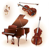 Set of 3 instruments: grand piano, violin, contrabass — Stock Vector