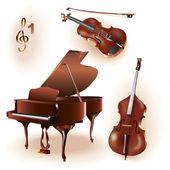 Set of 3 instruments: grand piano, violin, contrabass — Stock Vector
