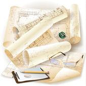 Архитектурные гранж-фон с инструментами управления и рулоны чертежей — Cтоковый вектор