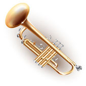 Classical brass trumpet — Stock Vector