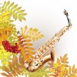 Musical background series. Classical saxophone alto. Isolated on white autumn background with yellow leaves and a bunch of rowan — Stock Vector