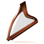 Musical background series. Traditional Irish (celtic) harp, isolated on white background — Stock Vector
