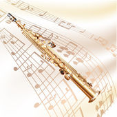 Musical background series. Classical soprano sax, isolated on white background with musical notes — Stock Vector