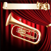 Musical background series. Classical baritone horn - Euphonium tuba on a red velvet curtain background — Stock Vector