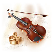 Musical background series. Classical violin, isolated on white background with musical notes — Stock Vector