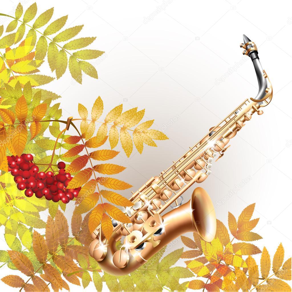 Картинки саксофон и осень